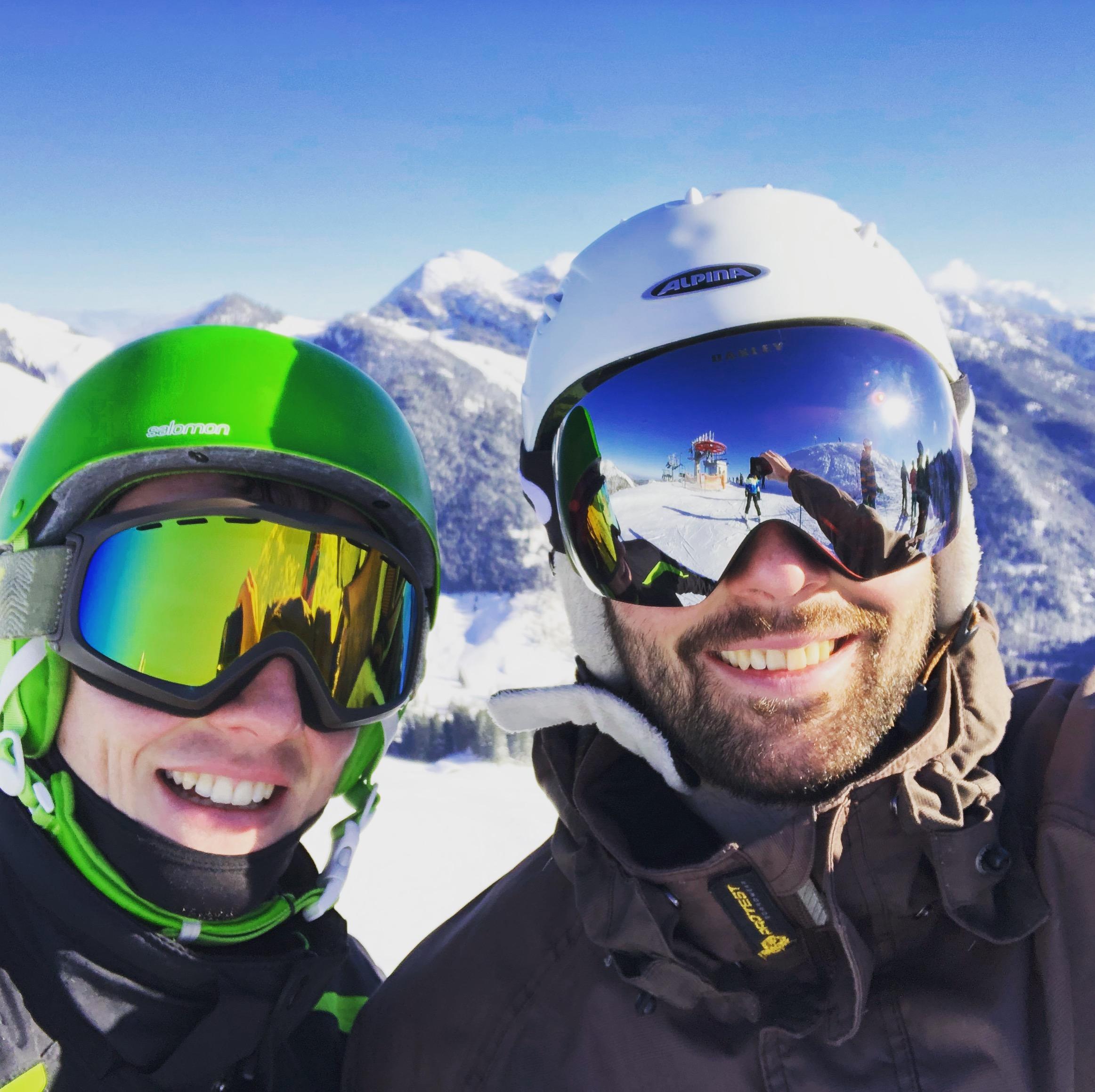 Eine schöne Aussicht an einem Skitag zwischen Weihnachten und Silvester 2017 am Spitzingsee, Bayern